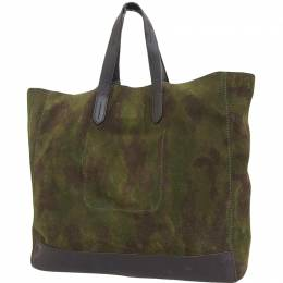 Ralph Lauren Camouflage Green Suede Leather Tote Bag 236847