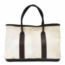 Hermes Beige Canvas And Leather Garden Party PM Bag 232919