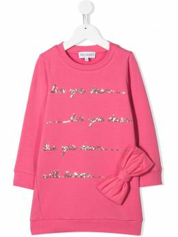 Simonetta - slogan embroidered sweater dress 066LB636956096350000