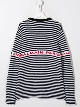 Balmain Kids - TEEN logo striped intarsia jumper 50695698936000000000