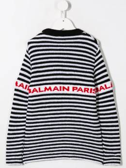 Balmain Kids - logo striped intarsia jumper 50695698935000000000