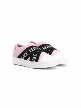Young Versace - logo strap slip-on sneakers 66665YB6690895580533