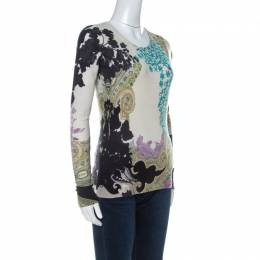 Etro Multicolor Paisley Print Silk and Cashmere Blend Sweater M 237750