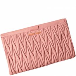 Miu Miu Light Pink Matelasse Leather Clutch 236778