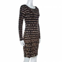 Roberto Cavalli Black Leopard and Stripe Print Stretch Long Sleeve Dress S 237765
