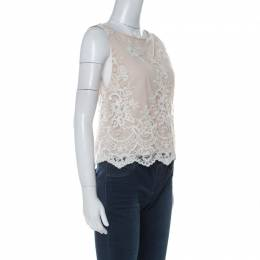 Alice+Olivia Beige Lace & Sequin Sleeveless Trapeze Top S