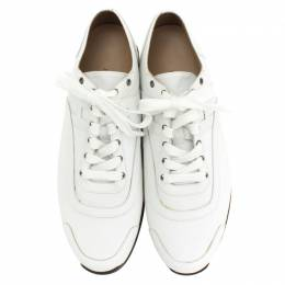 Hermes White Canvas And Leather Trim Kool Low Top Sneakers Size 42 281109
