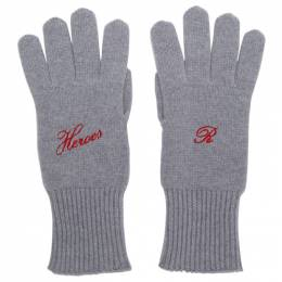 Raf Simons Grey Cashmere Heroes Gloves 192-846