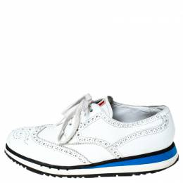 Prada White Brogue Leather Lace Up Derby Sneakers Size 41 237653