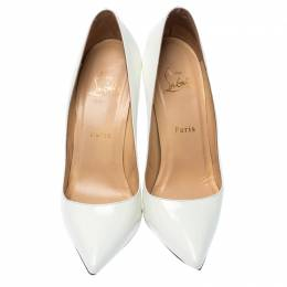 Christian Louboutin White Patent Leather Pigalle Pointed Toe Pumps Size 38 234735