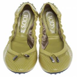 Tod's Yellow Python Leather Scrunch Ballet Flats Size 38.5 238263