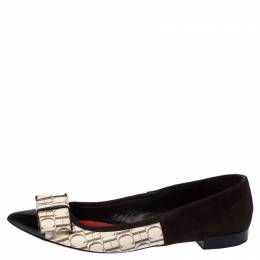 Carolina Herrera Dark Brown/Beige Suede and PVC Bow Pointed Toe Ballet Flats Size 40 235998