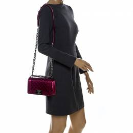 Magenta Patent Leather Small Boy Flap Bag Chanel 238564