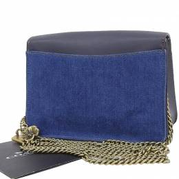 Coach Blue Denim And Leather Rose Turnlock Chain Crossbody Bag 238863