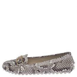 Louis Vuitton Beige/Brown Python Leather Logo Slip On Loafers Size 39 238589
