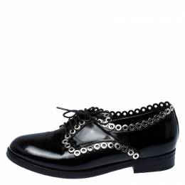 Alaia Black Grommet Embellished Patent Leather Lace Up Oxfords Size 38 237389