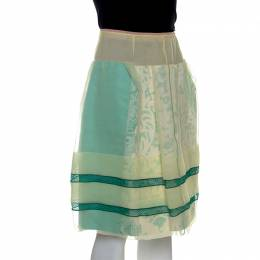 Louis Vuitton Yellow and Green Silk Lace Trim Skirt M 239222