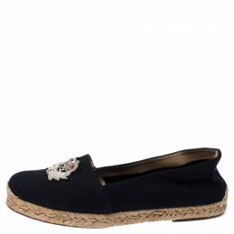 Christian Louboutin Navy Blue Canvas Gala Embroidered Crest Espadrille Loafers Size 39 237424
