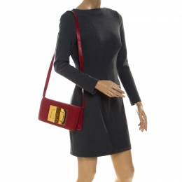 Tom Ford Red Leather Natalia Convertible Clutch