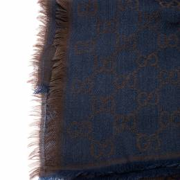 Gucci Brown and Blue Silk Wool Guccissima Fringed Square Scarf 239936