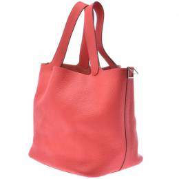 Hermes Rouge Clemence Leather Picotin Lock PM Bag 239581