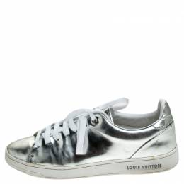 Louis Vuitton Metallic Silver Leather Frontrow Low Top Sneakers Size 37
