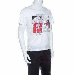 Prada White Robot Printed Patch Detail Crew Neck T-Shirt M 240376
