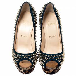 Christian Louboutin Green Suede Leopard Pony Hair Lady Peep Spikes Platform Pumps Size 37 240343