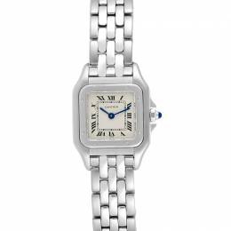 Cartier Silver and Stainless Steel Panthere W25033P5 Women's Wristwatch 22 MM 240081