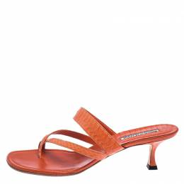 Manolo Blahnik Orange Python Susa Thong Kitten Heel Sandals Size 40 240971
