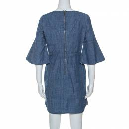 Burberry	 Chambray Blue Pintuck Detail Denim Short Dress S