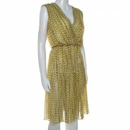 Max Mara Yellow Printed Silk Pleated Sleeveless Dress M 239945