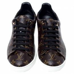 Louis Vuitton Brown Monogram Canvas and Black Patent Leather Frontrow Low Top Sneakers Size 40 240760