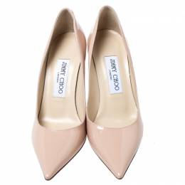 Jimmy Choo Beige Patent Leather Anouk Pointy Toe Pumps Size 36 241629