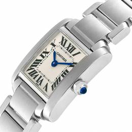 Cartier Silver and Stainless Steel Tank Francaise W51008Q3 Women's Wristwatch 20.0 x 35.0MM 240113