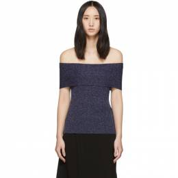 3.1 Phillip Lim Navy Lurex Off-The-Shoulder Pullover H191-7219NLL