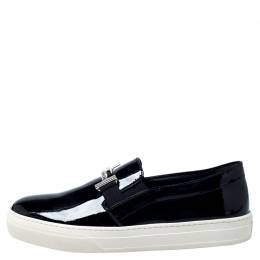 Tod's Black Patent Leather Sportivo Maxi Crystal Double T Slip On Sneakers Size 40 302988
