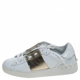 Valentino White And Gold Band Leather Open Low Top Sneakers Size 36 242025