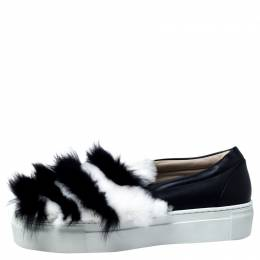 Le Silla Monochrome Leather And Fur Slip On Sneakers Size 40 241256