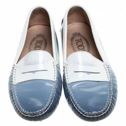 Tod's Blue/White Gradient Patent Leather Penny Loafers Size 35 241892