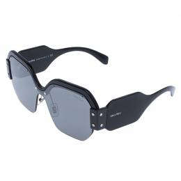 Miu Miu Black/Grey SMU09S Oversized Square Sorbet Sunglasses 239838