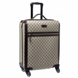Gucci Beige/Brown Supreme Canvas Four Wheel Carry-On Suitcase 240952