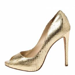 Alexandre Birman Metallic Gold Python Leather Peep Toe Pumps Size 38 240303