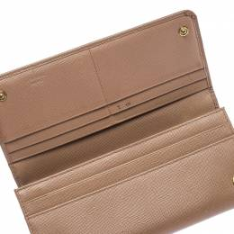 Prada Beige Saffiano Leather Continental Flap Wallet 240779