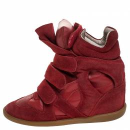 Isabel Marant Red Suede and Leather Bekett High Top Sneakers Size 38 242015