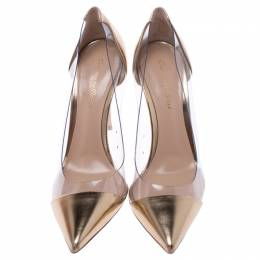 Gianvito Rossi Metallic Gold Leather And PVC Plexi Pointed Toe Pumps Size 37.5 242779