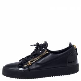 Giuseppe Zanotti Black Leather May London Double Chain Low Top Sneakers Size 43 240670