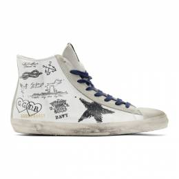 Golden Goose Deluxe Brand White Leather Message Francy Sneakers G35MS591.C25