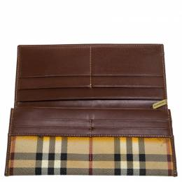 Burberry Beige Haymarket Check PVC and Leather Continental Wallet 241835