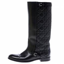 Dior Black Cannage Leather City Knee High Boots Size 38 242723